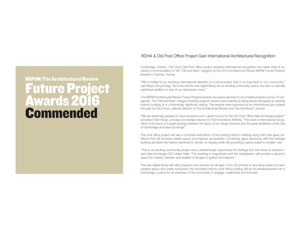 Press kit | 1070-02 - Press release | Old Post Office Idea Exchange - RDH Architects - Institutional Architecture - Architectural Review Future Project Awards Commendation - Photo credit: Architectural Review MIPIM Future Projects Awards & EMAP