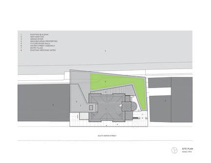 Press kit | 1070-02 - Press release | Old Post Office Idea Exchange - RDH Architects - Institutional Architecture - Site Plan Drawing - Photo credit: RDHA