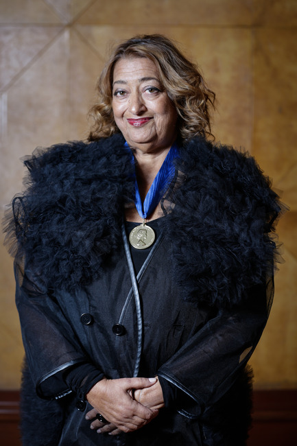 Press kit | 2072-01 - Press release | Zaha Hadid1950­-2016 - Zaha Hadid Architects - Event + Exhibition - Zaha Hadid wearing the Royal Gold Medal - Photo credit: Sophie Mutevelian