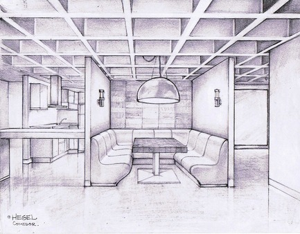 Press kit | 1825-03 - Press release | Hegel Apartment - Arqmov Workshop - Residential Interior Design - Kitchen & Dining room sketch - Photo credit: ARQMOV WORKSHOP