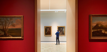 Press kit | 1164-01 - Press release | The Harley Gallery - Hugh Broughton Architects - Art - View from the Treasury Gallery into the Long Gallery, The Harley Gallery, Welbeck<br> - Photo credit: Hufton+Crow