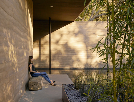 "Press kit | 2112-02 - Press release | Windhover Contemplative Center selected as Architizer A+ Finalist - Aidlin Darling Design - Institutional Architecture -         A stone bench salvaged from Stanford's ""bone yard"" provides a private spot for reflection. - Photo credit: Matthew Millman"