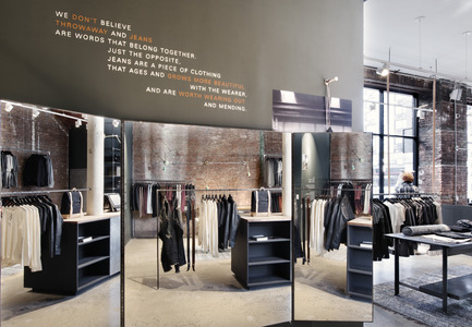 Press kit | 1124-08 - Press release | WIN Awards - Retail & Workspace Interiors Shortlist Announced - World Interiors News - Commercial Interior Design - WIN Awards 2016 - Retail Interiors Less Than 200 SQM Category: Nudie Jeans Repair Shop by Nudie Jeans (USA)    <br><br> Nudie Jeans' first New York repair shop is situated in Nolita on the corner of Bowery and Spring. The vast 420 sq. m space is the 20th location globally joining launches in London Soho and Shoreditch, Los Angeles, Stockholm, Oslo, Berlin, Tokyo, Osaka, Sydney and hometown Gothenburg. Offering full collections of organic unisex denim and men's tops and accessories, the store has brought an eagerly anticipated free repair service on well-loved Nudie Jeans to New Yorkers.   <br><br>  'The Nudie jeans store – although the design is not particularly surprising, it does feel like the perfect background for their service and the journey that goes with it. The mending stations, which are one of the core brand values, and the extensive and simple display, enhance rather than overtake the product.' CA - Photo credit: Nudie Jeans