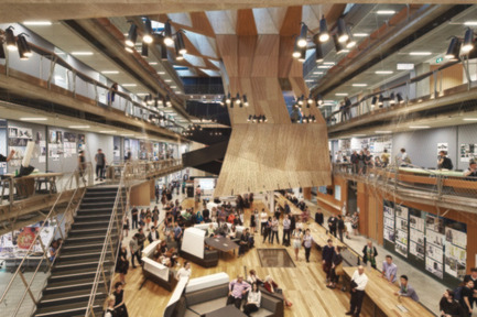 Press kit | 1124-08 - Press release | WIN Awards - Retail & Workspace Interiors Shortlist Announced - World Interiors News - Commercial Interior Design - WIN Awards 2016 - Workspace Interiors Greater Than 10,000 SQM Category: MSD by NADAAA (in collaboration with John Wardle Architects) (USA)<br><br>MSD is a global healthcare leader based in Australia. Their new building embraces the notion of working that favours the acts of doing, making and problem solving in a critical yet collaborative environment. The building incorporates two theatres, a workshop, library, two exhibitions spaces, café, a series of studios and associated academic and professional workspaces with the studio hall.<br><br>'A very strong scheme; a really holistic and dynamic village of creativity.' SH <br><br>'Beautifully presented, conceptually very strong.' MG   <br><br>'This project stood out for me for the interesting geometrics of the design which has stamped an exciting narrative on the building.' FL  <br><br>'I really enjoyed the story and the materiality of the project. I think the Studio Hall is very strong and dynamic.' AJ - Photo credit: NADAAA (in collaboration with John Wardle Architects)