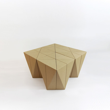 Press kit | 2128-01 - Press release | Fractal Surface Structure made with Cardboard Sheet: Spiral Stool by MisoSoupDesign Awarded Platinum A'Design Award - MisoSoupDesign - Product - Configured as low table - Photo credit: Daisuke Nagatomo