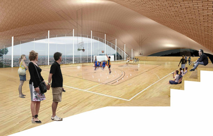 Press kit | 2070-01 - Press release | Brick-topia by Map13 Barcelona, winner of the WAN Temporary Small Spaces Award 2015 - Map13 Barcelona - Institutional Architecture -  Sports Hall in Barcelona. Court level.  - Photo credit:  Map13 Barcelona