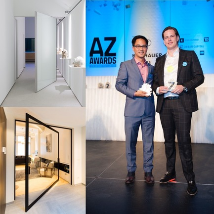 "Press kit | 2163-01 - Press release | Pivoting Room Divider - ANYWAY doors - Product - ANYWAYdoors receives the AZ Award for ""best architectural product"" - Photo credit: Azure Magazine"