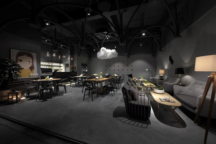 Press kit | 1124-09 - Press release | WIN Awards - Hospitality Shortlist Announced - World Interiors News - Commercial Interior Design - WIN Awards 2016 - Restaurants Category: Mysterious Game by Feel Design (China)<br><br>To enhance the efficiency, construction and timing of the project, the designer applied pale gray concrete throughout the interiors. Round tubes inspired from Gothic architecture bring out a magnificent Gothic stage play complete with floating clouds. The designer picked amusing contemporary artworks with a collection of different lighting effects in order to create a space with elegance and humour.<br><br>'We like the theatricality of the space. It's quite surreal and plays with contrasting light, scale and views. There are some interesting curated artworks, and lots of different places to explore. It's an intriguing project.' JD<br> - Photo credit: Feel Design