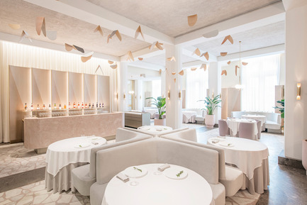 Press kit | 1124-09 - Press release | WIN Awards - Hospitality Shortlist Announced - World Interiors News - Commercial Interior Design - WIN Awards 2016 - Restaurants Category: Odette by Universal Design Studios (Singapore)<br><br>Universal Design Studio has recently completed the design of Odette, a 290sqm restaurant that opened in November 2015. It is located in the newly refurbished Singapore National Art Gallery – home to the Nation's art collection. Odette, named as a tribute to chef Julien Royer's grandmother, was designed as an art piece in itself, an extension of the collection housed in the historic building.<br><br>'We all loved the colour palette and use of materials - very current. A refreshing space with amazing attention to detail, all very considered. Lots of space around the tables, it feels like somewhere you really want to go…I really want to go! Love the semi-colonial referencing on the outside, reminding you of where you are.' DA<br> - Photo credit: Universal Design Studios