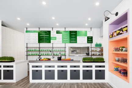 Press kit | 1215-03 - Press release | A refreshing design for a healthy menu - Issadesign - Commercial Interior Design - At the juice bar - Photo credit: Adrien William