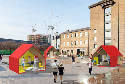 Press kit | 1109-09 - Press release | designjunction brings immersive design experiences and its first open-air party to King's Cross - designjunction - Event + Exhibition - Photo credit: Eight monopoly-style houses on Granary Square as part of designjunction 2016