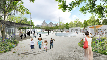 Press kit | 2191-01 - Press release | The Viger Square revitalization: a hybrid landscape grounded in its built and artistic heritage - Ville de Montréal and NIPPAYSAGE - Landscape Architecture -   Open and inviting corner access - Saint-Denis street / Viger avenue <br>(Chénier block)   - Photo credit: NIPPAYSAGE