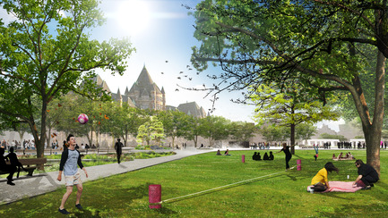 Press kit | 2191-01 - Press release | The Viger Square revitalization: a hybrid landscape grounded in its built and artistic heritage - Ville de Montréal and NIPPAYSAGE - Landscape Architecture -   Atmospheric rendering of multi-use green spaces<br>(Théberge block)   - Photo credit: NIPPAYSAGE