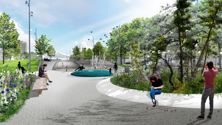 Press kit | 2191-01 - Press release | The Viger Square revitalization: a hybrid landscape grounded in its built and artistic heritage - Ville de Montréal and NIPPAYSAGE - Landscape Architecture -   Atmospheric rendering of play area<br>(Gnass block)   - Photo credit: NIPPAYSAGE