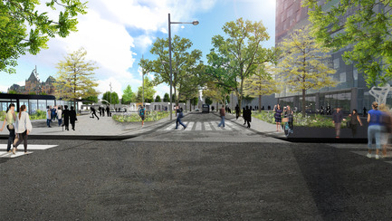 Press kit | 2191-01 - Press release | The Viger Square revitalization: a hybrid landscape grounded in its built and artistic heritage - Ville de Montréal and NIPPAYSAGE - Landscape Architecture -   Atmospheric rendering of Saint-Denis Street<br>(between Daudelin and Chénier blocks)   - Photo credit: NIPPAYSAGE