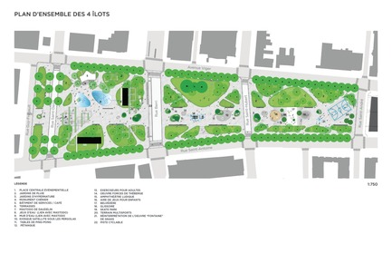 Press kit | 2191-01 - Press release | The Viger Square revitalization: a hybrid landscape grounded in its built and artistic heritage - Ville de Montréal and NIPPAYSAGE - Landscape Architecture -  Overall site plan of public square covering four urban blocks  - Photo credit: NIPPAYSAGE