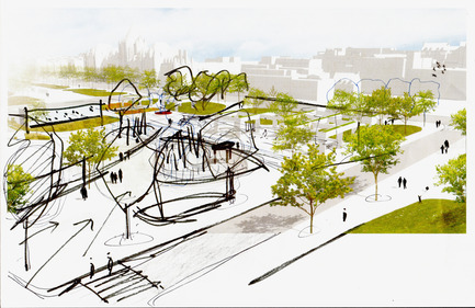 Press kit | 2191-01 - Press release | The Viger Square revitalization: a hybrid landscape grounded in its built and artistic heritage - Ville de Montréal and NIPPAYSAGE - Landscape Architecture -   Sketch of spatial relationships along Saint-Denis street<br>(Daudelin block)   - Photo credit: NIPPAYSAGE