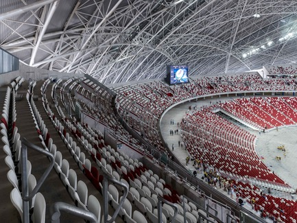 Press kit | 2186-01 - Press release | Singapore National Stadium - Arup Associates - Institutional Architecture -  The Stadium incorporates a moving tier of seats that can be pulled forward when the athletics track is not in use. This improves proximity to the pitch and thus enhances spectator experience and atmosphere  - Photo credit: Christian Richters