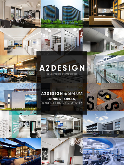 Press kit | 1538-04 - Press release | A2DESIGN + SPATIUM: Joining Forces, Skyrocketing Creativity - A2DESIGN Concepteurs stratégiques - Commercial Architecture - Mosaïque de projets - Photo credit: Adrien Williams, François Leclair, David Boyer