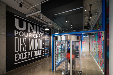 Press kit | 1152-08 - Press release | Four-Season Work and Play Areas at Ubisoft Quebec City - LumiGroup - Commercial Interior Design - Lightheaded Lighting: MAX Cylinder  - Photo credit: Jonathan Robert