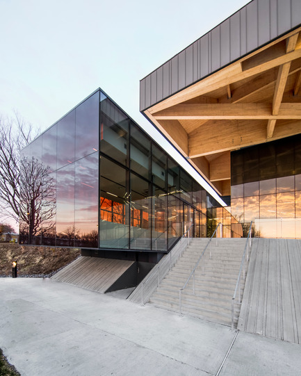 "Press kit | 2206-01 - Press release | ""Stade de soccer de Montréal"" Awarded at AAP American Architecture Prize 2016 - Saucier + Perrotte architectes / Hcma - Institutional Architecture - Main entrance - Photo credit: Olivier Blouin"