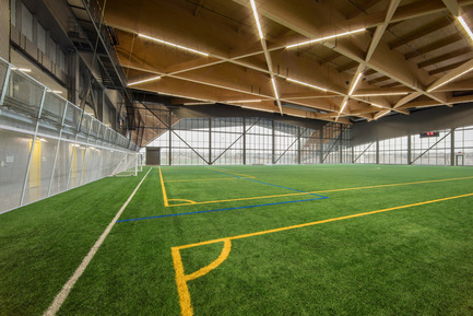 "Press kit | 2206-01 - Press release | ""Stade de soccer de Montréal"" Awarded at AAP American Architecture Prize 2016 - Saucier + Perrotte architectes / Hcma - Institutional Architecture - Interior field - Photo credit: Olivier Blouin"