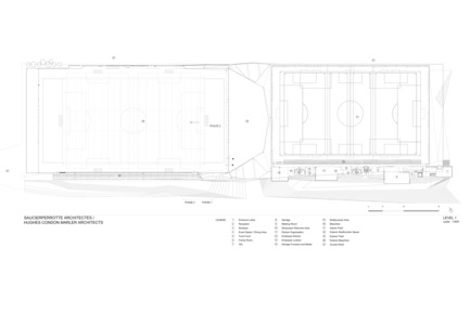 "Press kit | 2206-01 - Press release | ""Stade de soccer de Montréal"" Awarded at AAP American Architecture Prize 2016 - Saucier + Perrotte architectes / Hcma - Institutional Architecture - Floor plan / Scale 1:500 - Photo credit: Saucier + Perrotte architectes / Hcma"