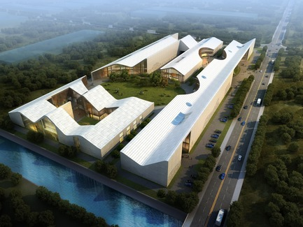 Press kit | 2223-01 - Press release | URBANLOGIC Designs Arts Factory and Innovation Center in Sichuan, China - URBANLOGIC Ltd - Commercial Architecture - Aerial View from South - Photo credit: Project Team: Hui Jun Wang, Yuan-Sheng Chen, Florian Pucher, Milan Svatek, Christian Junge