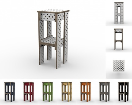 Press kit | 2261-01 - Press release | Furniture that Adapts to Ever-Changing Needs and Spaces - MOJUHLER - Product - 3d Renderings of Bar Stool Kit and available colors - Photo credit: MOJUHLER