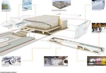 Press kit | 2266-01 - Press release | Pushkinsky International Cinema Hall at Moscow - Revitalization - MetropolitanmomentuM - Institutional Architecture - Exploded Diagram<br> - Photo credit: Pablo Osorio<br>