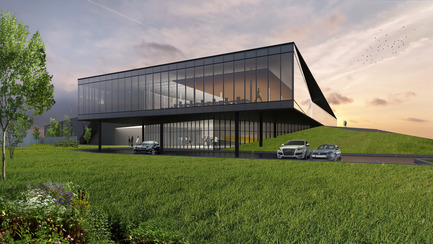 Press kit | 865-21 - Press release | Lemay to Design New Lumenpulse Head Office: A Window on the St. Lawrence River - Lemay - Commercial Architecture - Perspective – Visitor Entrance - Photo credit: Lemay