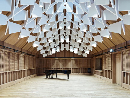 Press kit | 2295-01 - Press release | Jazz Campus - Buol&Zünd - Institutional Architecture - performance room with wooden soundbody - Photo credit: Georg Aerni