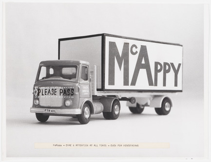 Press kit | 756-15 - Press release | Et si on parlait de bonheur sur le chantier? - Centre Canadien d'Architecture (CCA) - Évènement + Exposition -  McAppy : Photographie d'un camion McAppy avec le commentaire « Care and attention at all times – Even for Pedestrians »  1973–1975.  <br><br><br>  - Photo credit:  Fonds Cedric Price, Centre Canadien d'Architecture © CCA, Montréal.