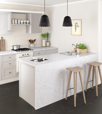 Press kit | 2349-01 - Press release | Silestone Unveils Eternal Collection with new N-Boost Technology - Cosentino - Product - Eternal Statuario is inspired by classic Italian Carrara marble with fine, feathered veining that combines white and grey tones.<br>  - Photo credit: Cosentino