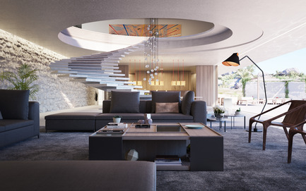 Press kit | 2265-01 - Press release | Superhouse 00/30 - Superhouse Property Group Ltd. - Residential Architecture - The spiral staircase and living area - Photo credit: The Boundary