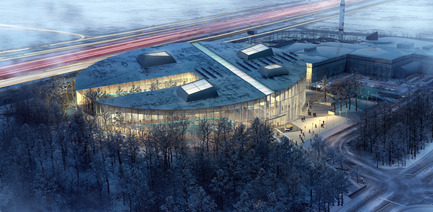 Press kit | 752-04 - Press release | NFOE/ HCMA Awarded Complexe Aquatique de Laval - NFOE/ HCMA consortium - Institutional Architecture - Aerial view - Photo credit: City of Laval