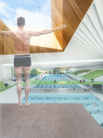 Press kit | 752-04 - Press release | NFOE/ HCMA Awarded Complexe Aquatique de Laval - NFOE/ HCMA consortium - Institutional Architecture - Interior view - diving - Photo credit: City of Laval