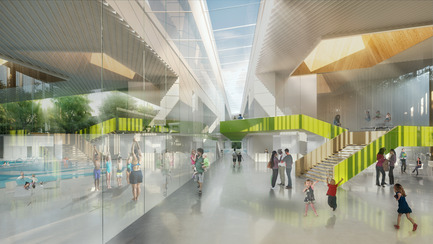 Press kit | 752-04 - Press release | NFOE/ HCMA Awarded Complexe Aquatique de Laval - NFOE/ HCMA consortium - Institutional Architecture - Interior view - lobby - Photo credit: City of Laval