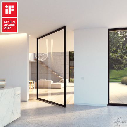 Dossier de presse | 2163-02 - Communiqué de presse | Portapivot reçoit un iF Design Award pour une charnière pivotante novatrice - Portapivot - Produit - Glass pivot door with central axis Stealth Pivot hinge system - Crédit photo : Koen Dries