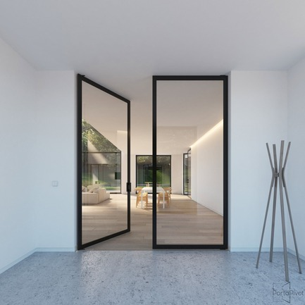 Press kit | 2163-02 - Press release | Portapivot's Pivot Hinge Technology Receives an iF Design Award - Portapivot - Product - Portapivot 6530 double pivot door with Stealth Pivot hinges - Photo credit: Portapivot