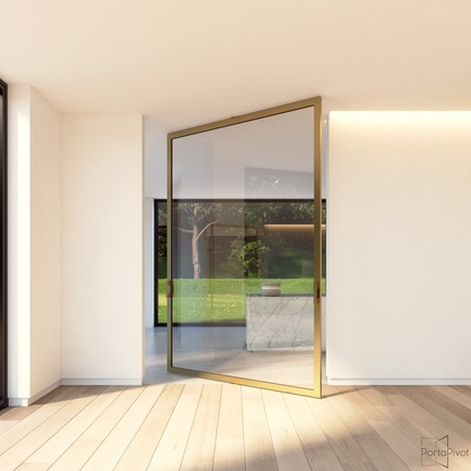 Press kit | 2163-02 - Press release | Portapivot's Pivot Hinge Technology Receives an iF Design Award - Portapivot - Product - Portapivot 6530 glass and bronze aluminium pivot door - Photo credit: Portapivot