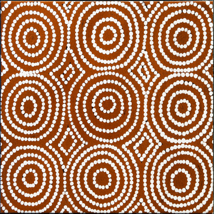Press kit | 2399-01 - Press release | My Country: Design With Origin - Bay Gallery Home - Residential Interior Design -  Bay Gallery Home, My Country Bush Onion 1 ceramic wall tile. From an original Australian Aboriginal artwork. - Photo credit: Bay Gallery Home