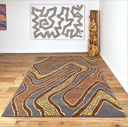 Press kit | 2399-01 - Press release | My Country: Design With Origin - Bay Gallery Home - Industrial Design - Bay Gallery Home, My Country Puyurru Water Dreaming 100% Goodweave rug, in situ. Made from an original Australian Aboriginal artwork. - Photo credit: Bay Gallery Home