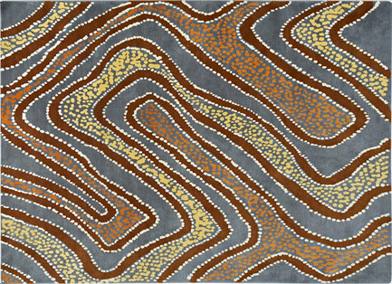 Press kit | 2399-01 - Press release | My Country: Design With Origin - Bay Gallery Home - Residential Interior Design - Bay Gallery Home, My Country Puyurru Water Dreaming 100% Goodweave rug. Made from an original Australian Aboriginal artwork. - Photo credit: Bay Gallery Home