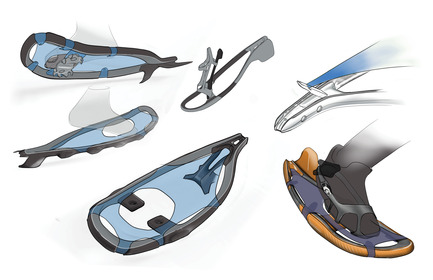 Press kit | 2540-01 - Press release | Bobcat Carbon Fiber Snowshoes - Benjamin Miller - Industrial Design - Ideation Sketch - Photo credit: Ben Miller