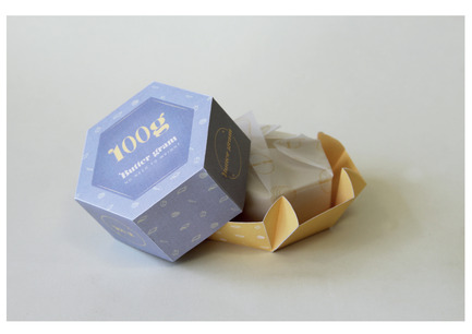 Press kit | 2472-01 - Press release | Award Winning Product Package Design: Butter gram - Axiom Consulting - Product - Butter gram Origami Base<br> - Photo credit: Team Axiom