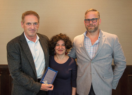 Press kit | 1615-04 - Press release | IESBC Announces the 2017 'Vision Award' Recipients - IESBC - Lighting Design -   Michael Graham (LH), Ellie Niakan (Middle), & James Holtrop (RH - IESBC board member) <br>   - Photo credit: Michael Young<br>