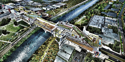 Press kit | 2266-02 - Press release | MetropolitanmomentuM Unveils Two Projects that Reimage the Los Angeles River - MetropolitanmomentuM - Landscape Architecture - Aerial Far View-LA River Habitable Bridge - Photo credit: MetropolitanmomentuM