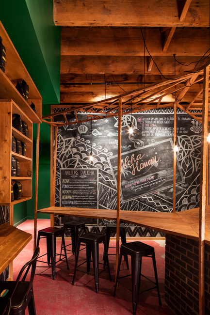 Press kit | 760-14 - Press release | Aloha Espresso Bar: Café for the New Flavors and History Buffs - Jean de Lessard - Designers Créatifs - Commercial Interior Design - Photo credit: Adrien Williams