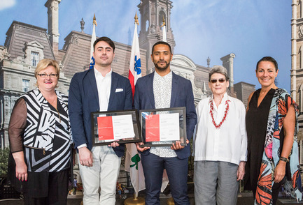 Press kit | 562-71 - Press release | Rainville-Sangaré Receives 2017 Phyllis Lambert Grant - Bureau du design - Ville de Montréal - Industrial Design - Chantal Rossi, Associate councillor, culture, heritage and design, Ville de Montréal, Lambert Rainville, Nicholas Sangaré, Phyllis Lambert, Manon Gauthier, member of the executive committee, responsible for Culture, Heritage, Design, Space for Life, Status of Women, Ville de Montréal. - Photo credit: Mathieu Rivard